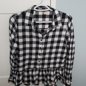 Flannel Patterned Shirt with Peplum